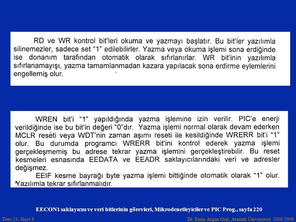 Dr. Emin Argun Oral, Atatürk Üniversitesi 2008/2009 Ders 14, Slayt 8 EECON1 saklayıcısı ve veri bitlerinin görevleri, Mikrodenetleyiciler ve PIC Prog.
