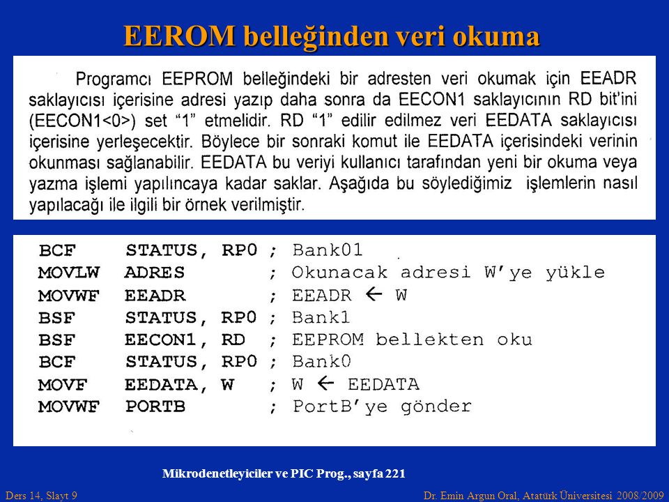 Dr. Emin Argun Oral, Atatürk Üniversitesi 2008/2009 Ders 14, Slayt 9 Mikrodenetleyiciler ve PIC Prog., sayfa 221 EEROM belleğinden veri okuma