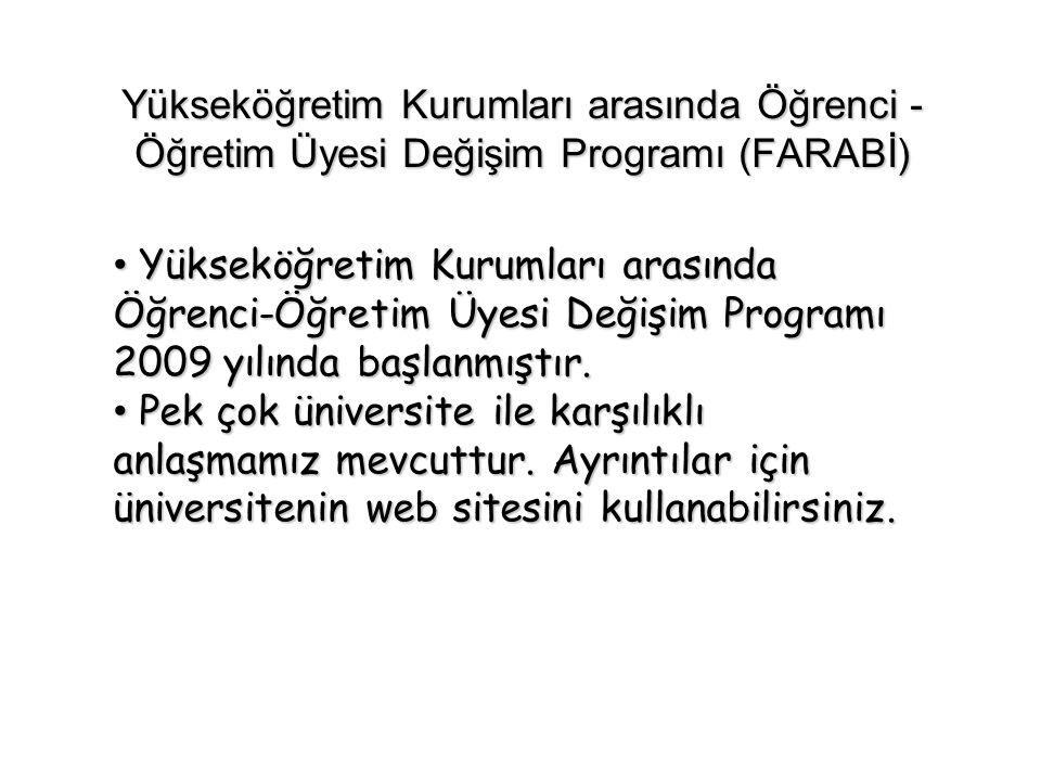 Yükseköğretim Kurumları arasında Öğrenci - Öğretim Üyesi Değişim Programı (FARABİ) Yükseköğretim Kurumları arasında Öğrenci-Öğretim Üyesi Değişim Prog