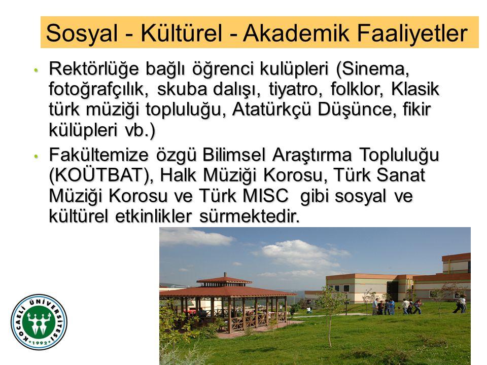 Rektörlüğe bağlı öğrenci kulüpleri (Sinema, fotoğrafçılık, skuba dalışı, tiyatro, folklor, Klasik türk müziği topluluğu, Atatürkçü Düşünce, fikir külü