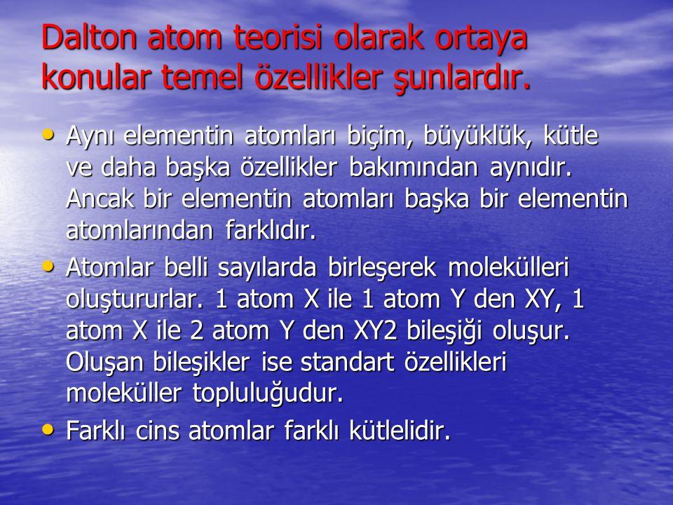 Dalton atom teorisi olarak ortaya konular temel özellikler şunlardır. Aynı elementin atomları biçim, büyüklük, kütle ve daha başka özellikler bakımınd
