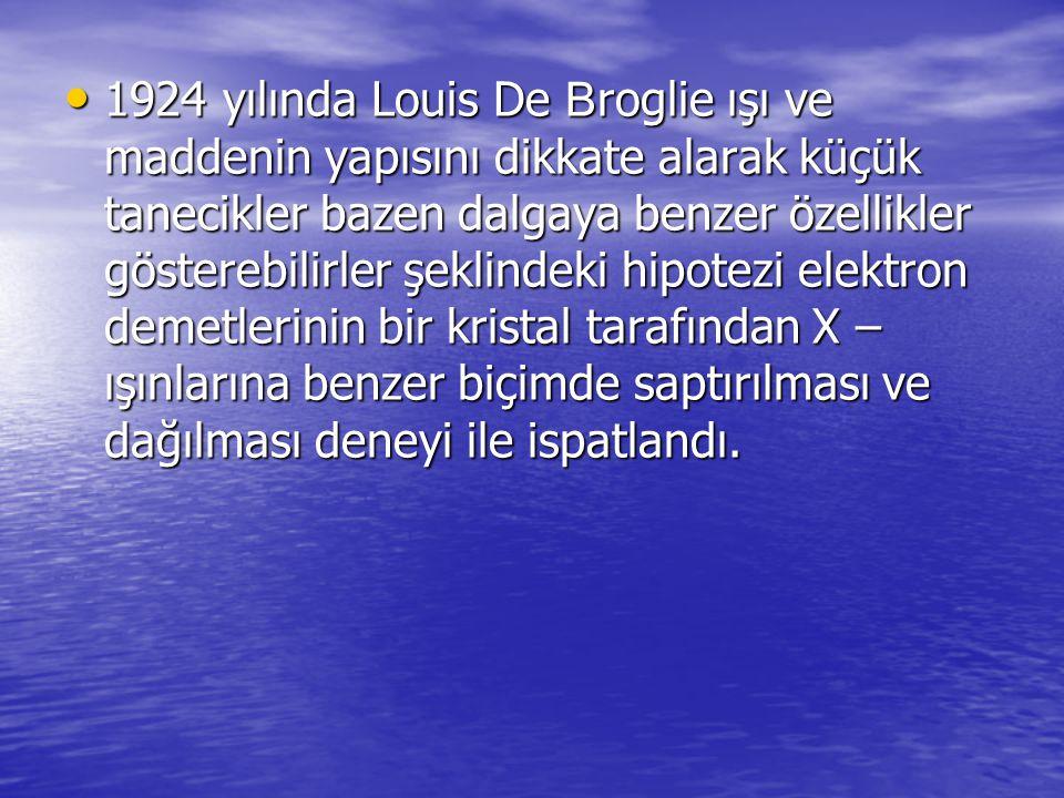 1924 yılında Louis De B roglie ışı ve maddenin yapısını dikkate alarak küçük tanecikler bazen dalgaya benzer özellikler gösterebilirler şeklindeki hip