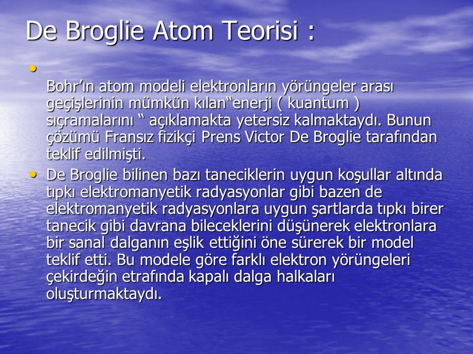 """De Broglie Atom Teorisi : Bohr'ın atom modeli elektronların yörüngeler arası geçişlerinin mümkün kılan""""enerji ( kuantum ) sıçramalarını """" açıklamakta"""