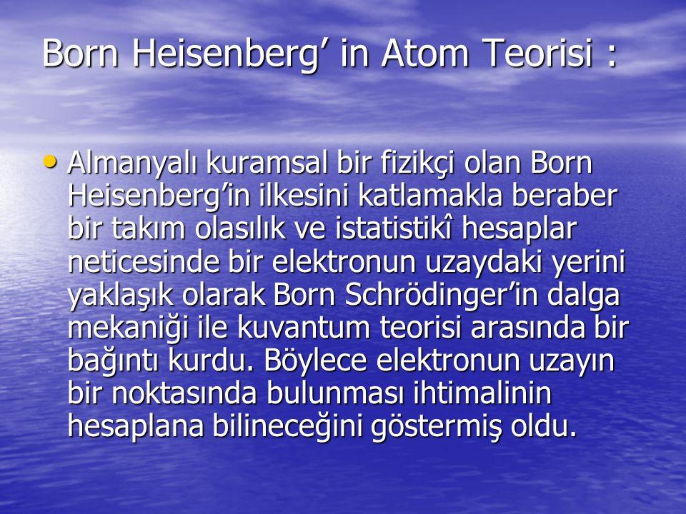 Born Heisenberg' in Atom Teorisi : Almanyalı kuramsal bir fizikçi olan Born Heisenberg'in ilkesini katlamakla beraber bir takım olasılık ve istatistik