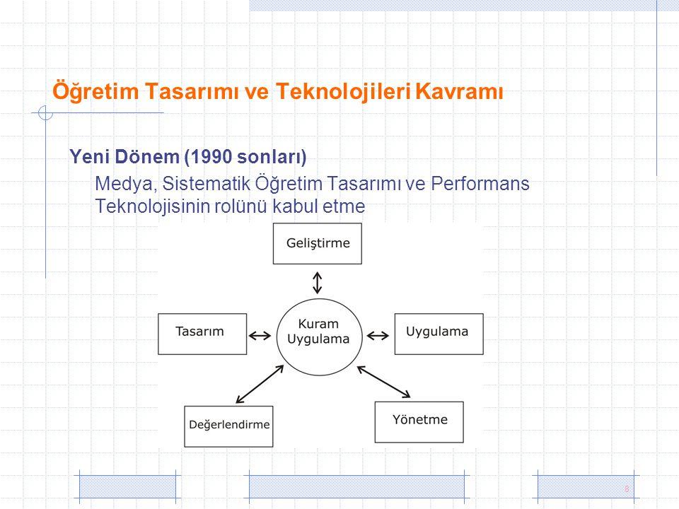 8 Öğretim Tasarımı ve Teknolojileri Kavramı Yeni Dönem (1990 sonları) Medya, Sistematik Öğretim Tasarımı ve Performans Teknolojisinin rolünü kabul etm