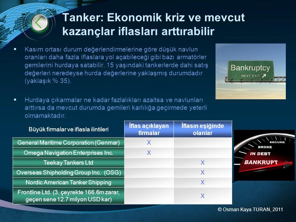 © Osman Kaya TURAN, 2011 Tanker: Ekonomik kriz ve mevcut kazançlar iflasları arttırabilir  Kasım ortası durum değerlendirmelerine göre düşük navlun oranları daha fazla iflaslara yol açabileceği gibi bazı armatörler gemilerini hurdaya satabilir.