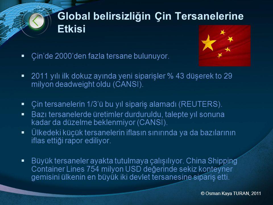 © Osman Kaya TURAN, 2011 Global belirsizliğin Çin Tersanelerine Etkisi  Çin'de 2000'den fazla tersane bulunuyor.  2011 yılı ilk dokuz ayında yeni si