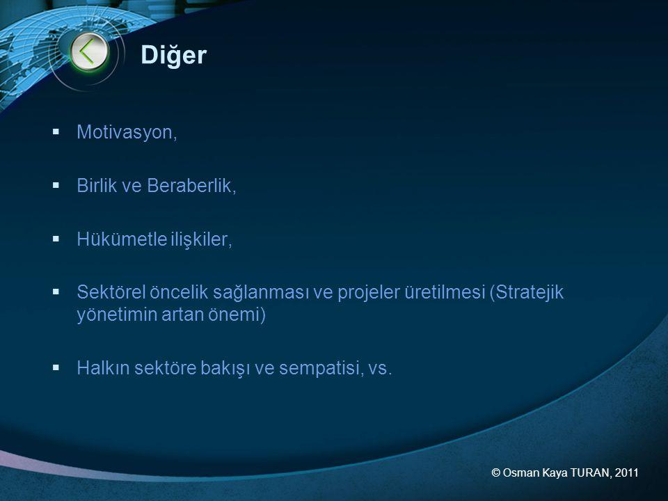 © Osman Kaya TURAN, 2011 Diğer  Motivasyon,  Birlik ve Beraberlik,  Hükümetle ilişkiler,  Sektörel öncelik sağlanması ve projeler üretilmesi (Stra