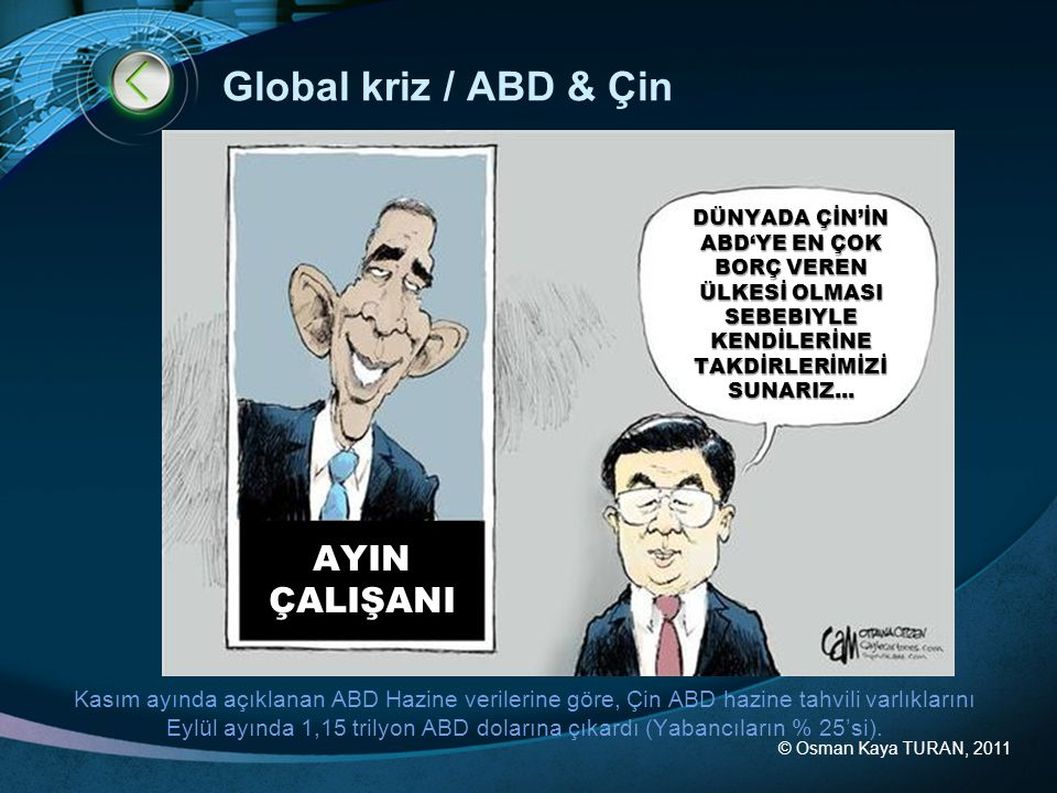 © Osman Kaya TURAN, 2011 Global kriz / ABD & Çin DÜNYADA ÇİN'İN ABD'YE EN ÇOK BORÇ VEREN ÜLKESİ OLMASI SEBEBIYLE KENDİLERİNE TAKDİRLERİMİZİ SUNARIZ...