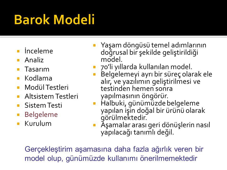  İnceleme  Analiz  Tasarım  Kodlama  Modül Testleri  Altsistem Testleri  Sistem Testi  Belgeleme  Kurulum  Yaşam döngüsü temel adımlarının d