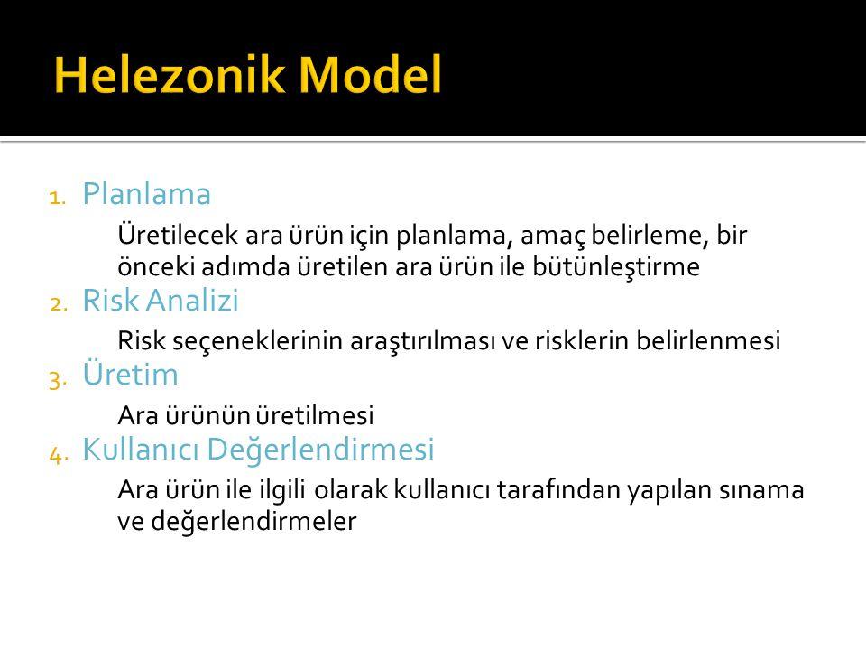 1. Planlama Üretilecek ara ürün için planlama, amaç belirleme, bir önceki adımda üretilen ara ürün ile bütünleştirme 2. Risk Analizi Risk seçeneklerin