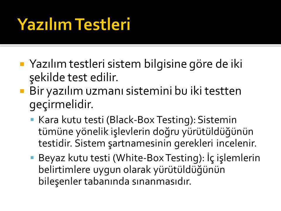  Yazılım testleri sistem bilgisine göre de iki şekilde test edilir.  Bir yazılım uzmanı sistemini bu iki testten geçirmelidir.  Kara kutu testi (Bl