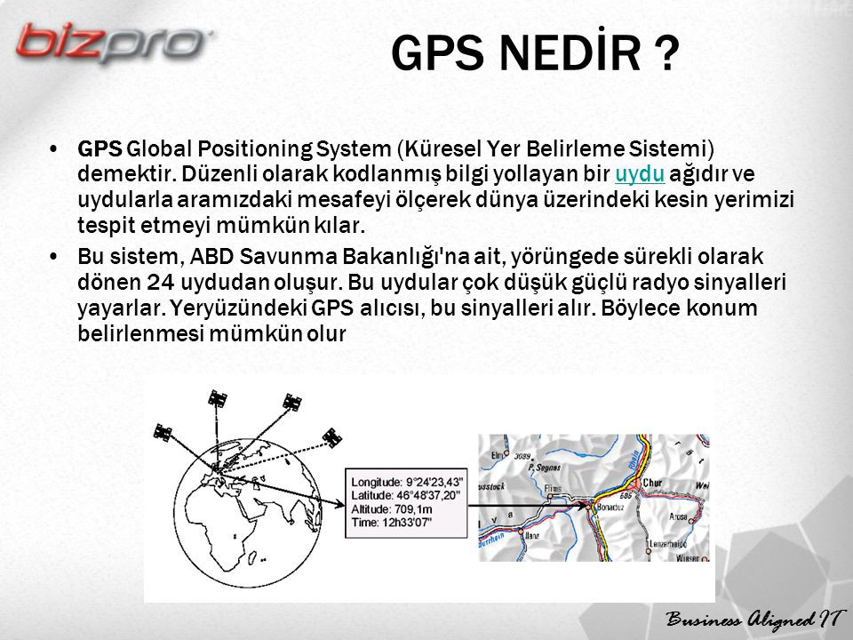 Business Aligned IT GPS NEDİR ? GPS Global Positioning System (Küresel Yer Belirleme Sistemi) demektir. Düzenli olarak kodlanmış bilgi yollayan bir uy