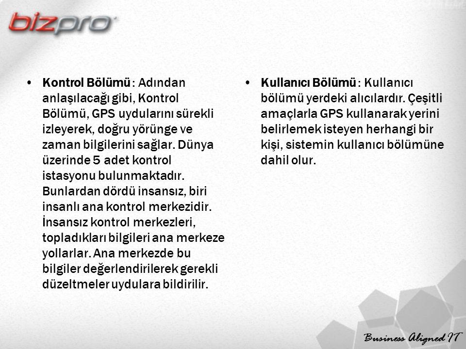 Business Aligned IT Kontrol Bölümü : Adından anlaşılacağı gibi, Kontrol Bölümü, GPS uydularını sürekli izleyerek, doğru yörünge ve zaman bilgilerini sağlar.