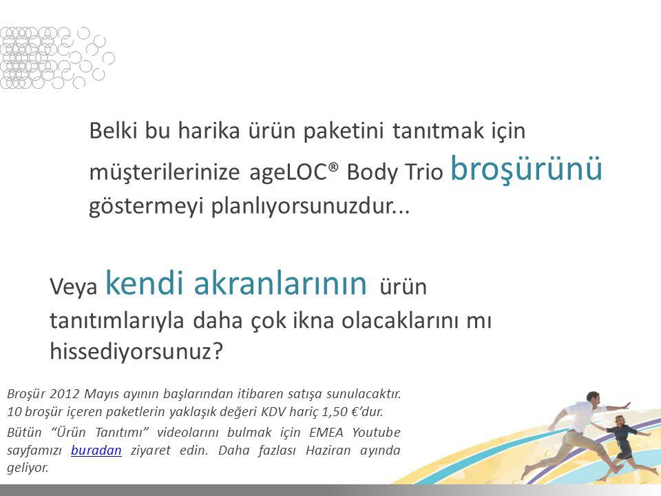 Belki bu harika ürün paketini tanıtmak için müşterilerinize ageLOC® Body Trio broşürünü göstermeyi planlıyorsunuzdur... Veya kendi akranlarının ürün t