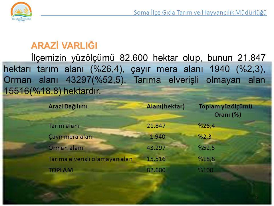 ARAZİ VARLIĞI İlçemizin yüzölçümü 82.600 hektar olup, bunun 21.847 hektarı tarım alanı (%26,4), çayır mera alanı 1940 (%2,3), Orman alanı 43297(%52,5), Tarıma elverişli olmayan alan 15516(%18,8) hektardır.