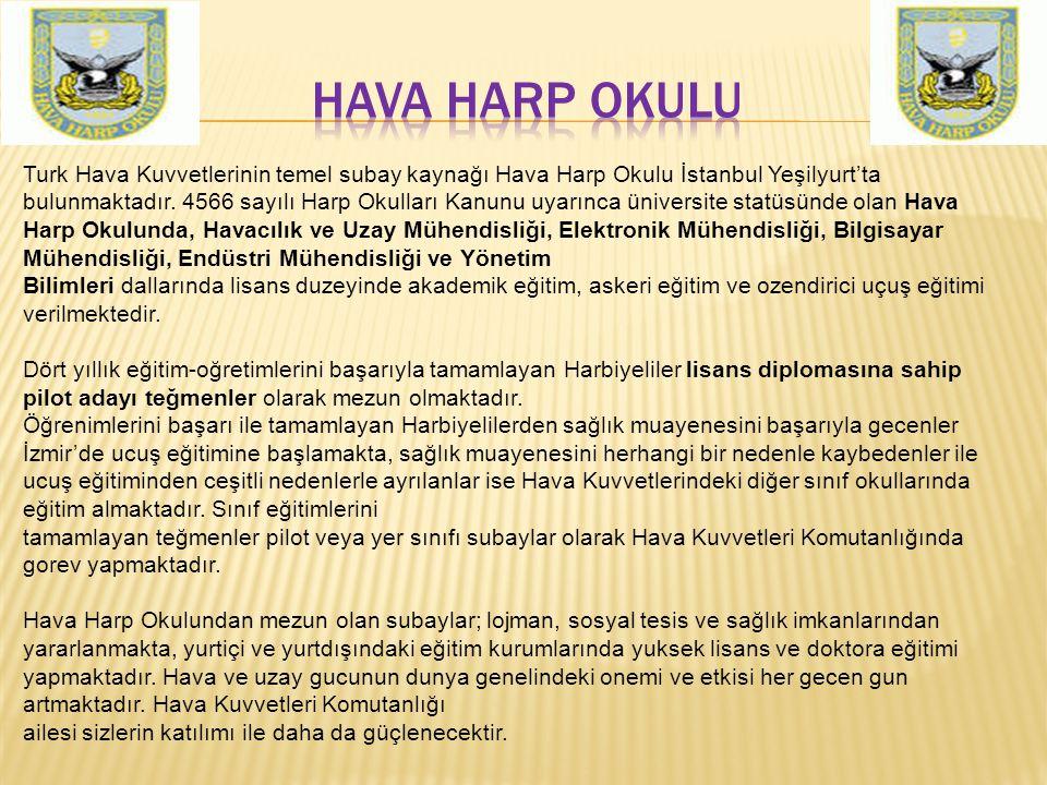 Turk Hava Kuvvetlerinin temel subay kaynağı Hava Harp Okulu İstanbul Yeşilyurt'ta bulunmaktadır. 4566 sayılı Harp Okulları Kanunu uyarınca üniversite