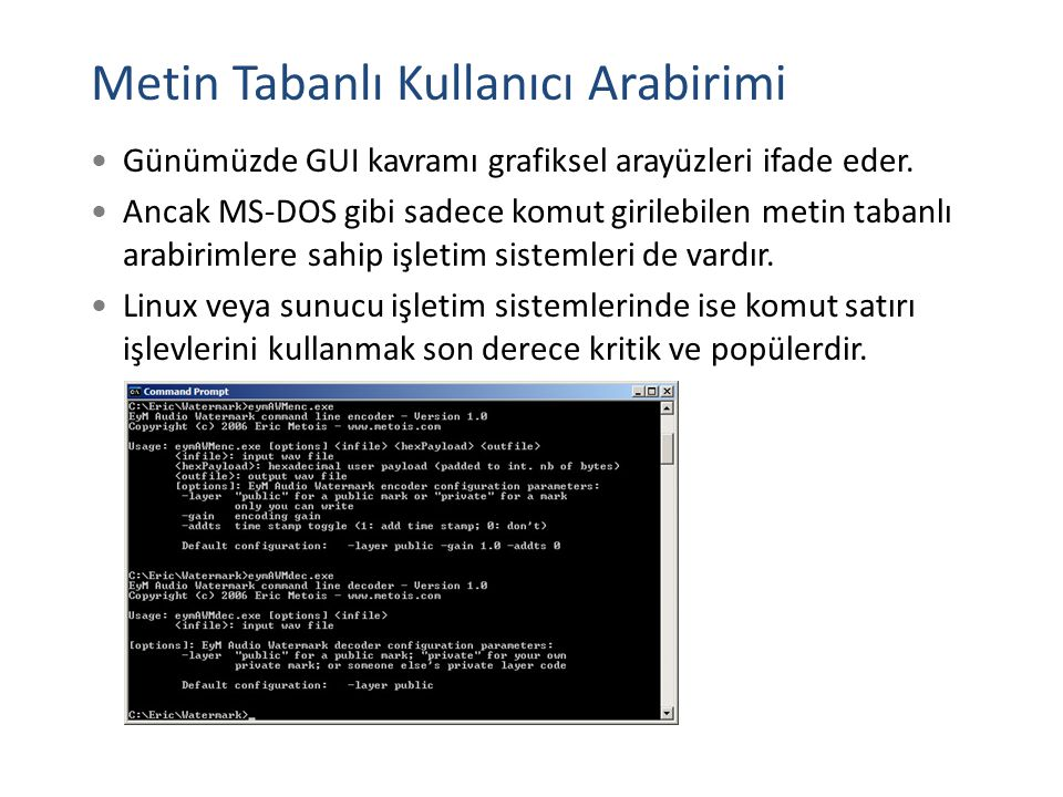 Metin Tabanlı Kullanıcı Arabirimi Günümüzde GUI kavramı grafiksel arayüzleri ifade eder. Ancak MS-DOS gibi sadece komut girilebilen metin tabanlı arab