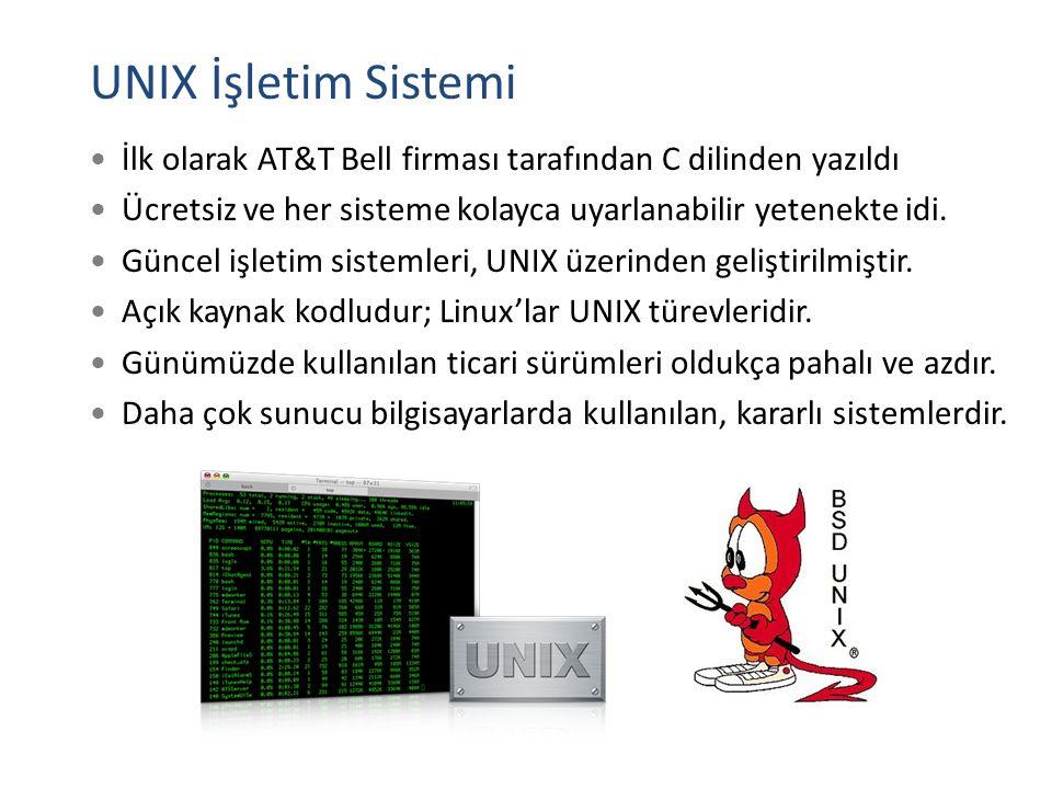 UNIX İşletim Sistemi İlk olarak AT&T Bell firması tarafından C dilinden yazıldı Ücretsiz ve her sisteme kolayca uyarlanabilir yetenekte idi. Güncel iş