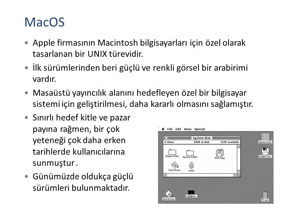MacOS Apple firmasının Macintosh bilgisayarları için özel olarak tasarlanan bir UNIX türevidir. İlk sürümlerinden beri güçlü ve renkli görsel bir arab
