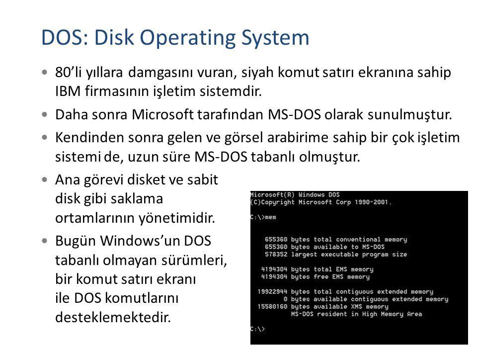 DOS: Disk Operating System 80'li yıllara damgasını vuran, siyah komut satırı ekranına sahip IBM firmasının işletim sistemdir. Daha sonra Microsoft tar
