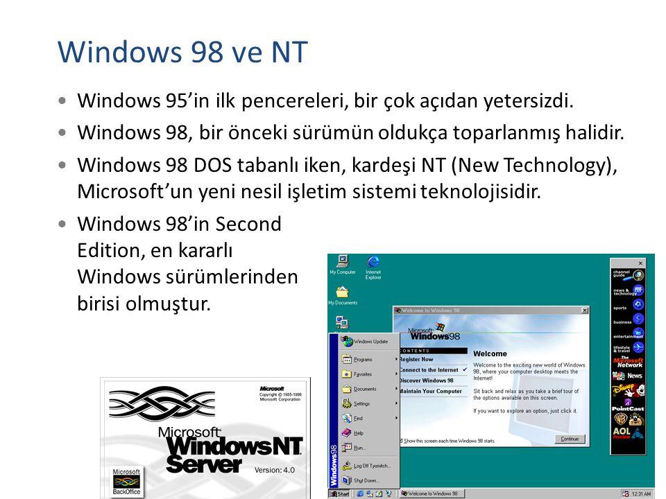 Windows 98 ve NT Windows 95'in ilk pencereleri, bir çok açıdan yetersizdi. Windows 98, bir önceki sürümün oldukça toparlanmış halidir. Windows 98 DOS