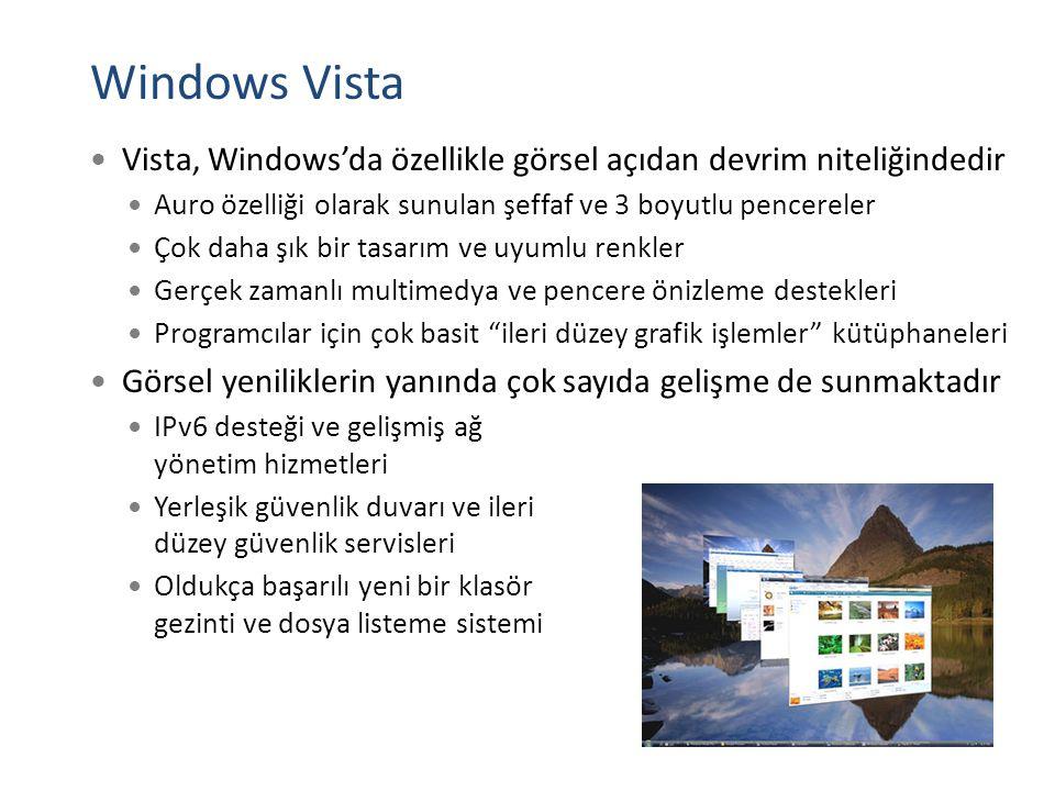 Windows Vista Vista, Windows'da özellikle görsel açıdan devrim niteliğindedir Auro özelliği olarak sunulan şeffaf ve 3 boyutlu pencereler Çok daha şık