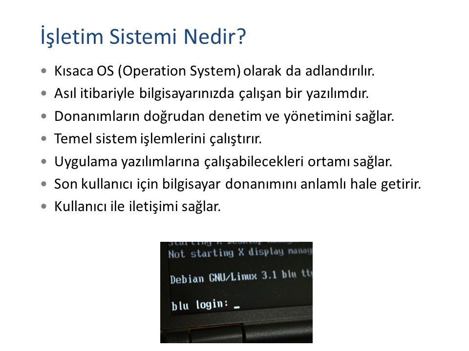 İşletim Sistemi Nedir? Kısaca OS (Operation System) olarak da adlandırılır. Asıl itibariyle bilgisayarınızda çalışan bir yazılımdır. Donanımların doğr