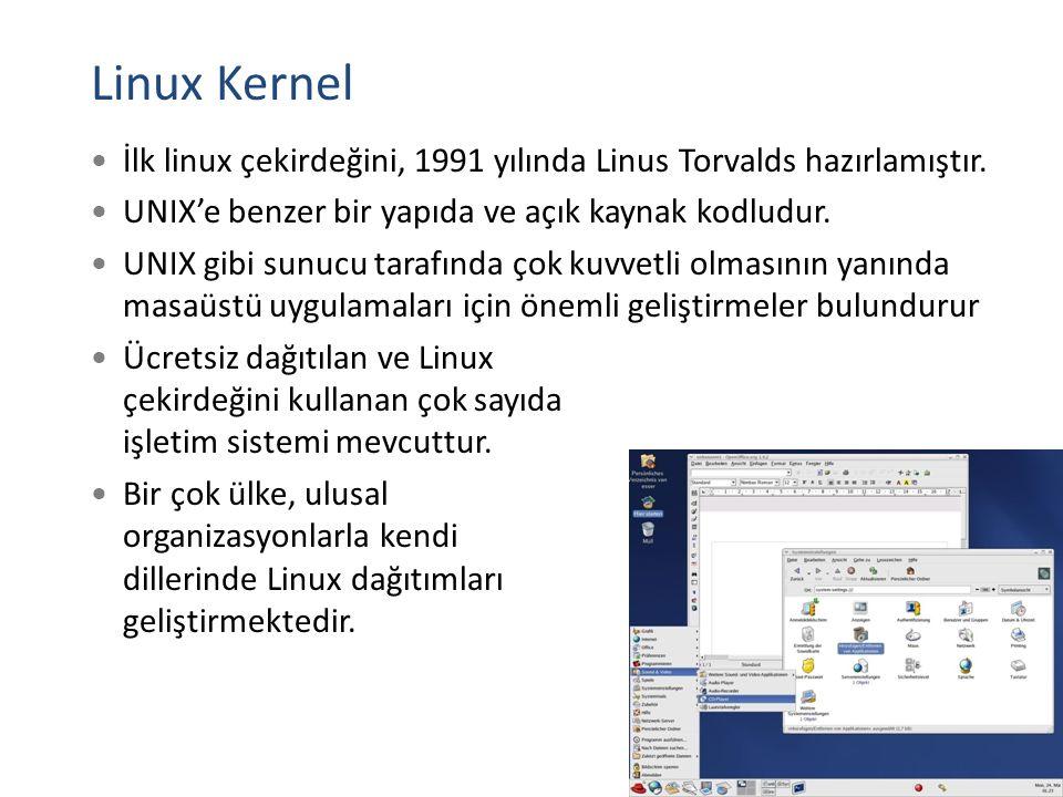 Linux Kernel İlk linux çekirdeğini, 1991 yılında Linus Torvalds hazırlamıştır. UNIX'e benzer bir yapıda ve açık kaynak kodludur. UNIX gibi sunucu tara