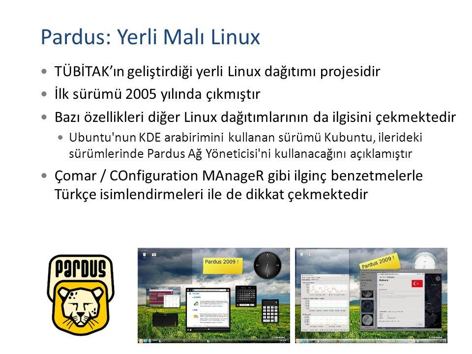 Pardus: Yerli Malı Linux TÜBİTAK'ın geliştirdiği yerli Linux dağıtımı projesidir İlk sürümü 2005 yılında çıkmıştır Bazı özellikleri diğer Linux dağıtı