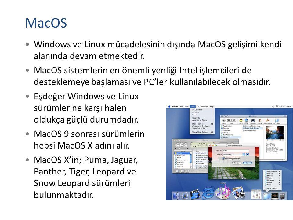 MacOS Windows ve Linux mücadelesinin dışında MacOS gelişimi kendi alanında devam etmektedir. MacOS sistemlerin en önemli yenliği Intel işlemcileri de