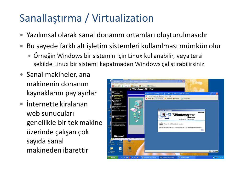 Sanallaştırma / Virtualization Yazılımsal olarak sanal donanım ortamları oluşturulmasıdır Bu sayede farklı alt işletim sistemleri kullanılması mümkün