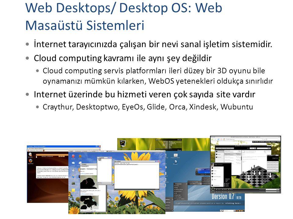 Web Desktops/ Desktop OS: Web Masaüstü Sistemleri İnternet tarayıcınızda çalışan bir nevi sanal işletim sistemidir. Cloud computing kavramı ile aynı ş