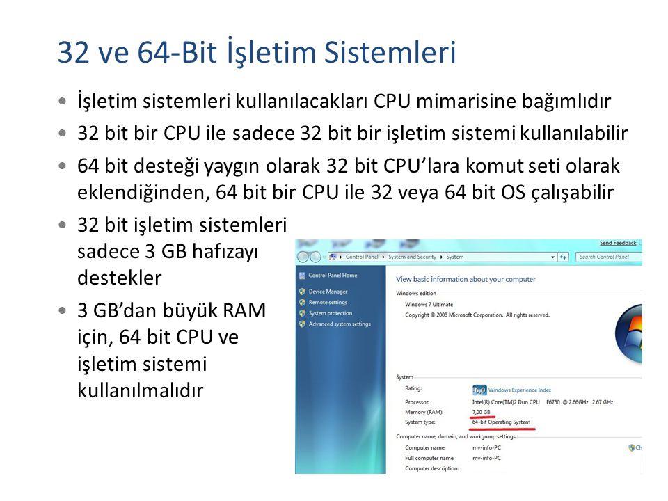 32 ve 64-Bit İşletim Sistemleri İşletim sistemleri kullanılacakları CPU mimarisine bağımlıdır 32 bit bir CPU ile sadece 32 bit bir işletim sistemi kul
