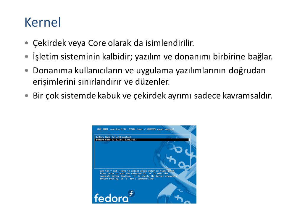 Kernel Çekirdek veya Core olarak da isimlendirilir. İşletim sisteminin kalbidir; yazılım ve donanımı birbirine bağlar. Donanıma kullanıcıların ve uygu
