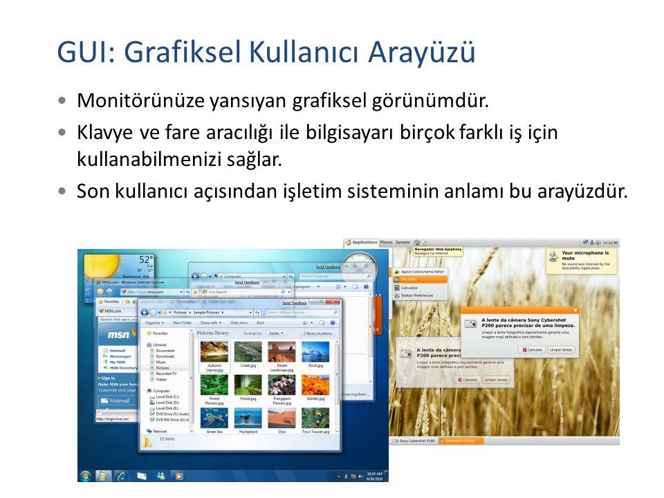 GUI: Grafiksel Kullanıcı Arayüzü Monitörünüze yansıyan grafiksel görünümdür. Klavye ve fare aracılığı ile bilgisayarı birçok farklı iş için kullanabil