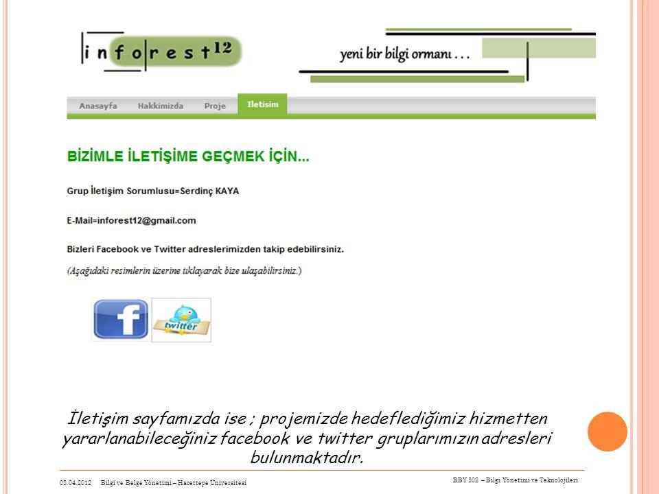 İletişim sayfamızda ise ; projemizde hedeflediğimiz hizmetten yararlanabileceğiniz facebook ve twitter gruplarımızın adresleri bulunmaktadır. 03.04.20