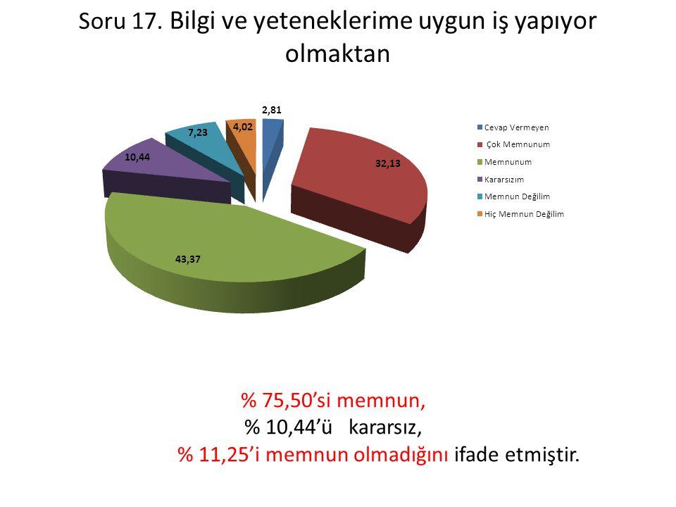Soru 17. Bilgi ve yeteneklerime uygun iş yapıyor olmaktan % 75,50'si memnun, % 10,44'ü kararsız, % 11,25'i memnun olmadığını ifade etmiştir.
