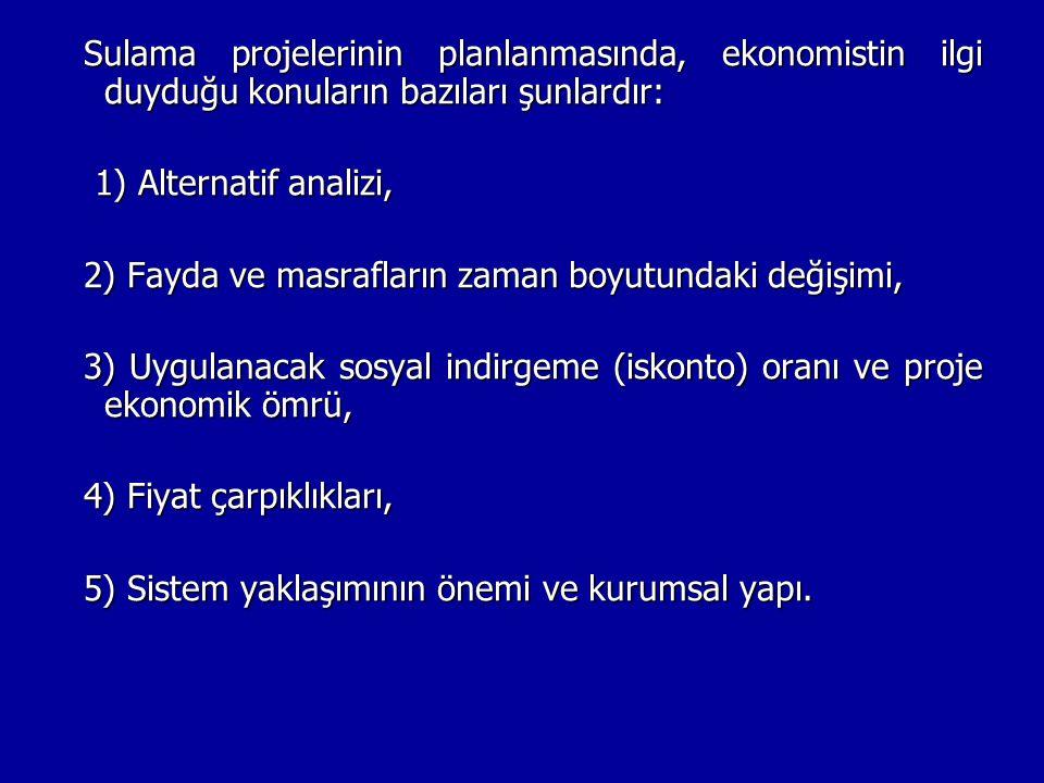 Sulama projelerinin planlanmasında, ekonomistin ilgi duyduğu konuların bazıları şunlardır: 1) Alternatif analizi, 1) Alternatif analizi, 2) Fayda ve m