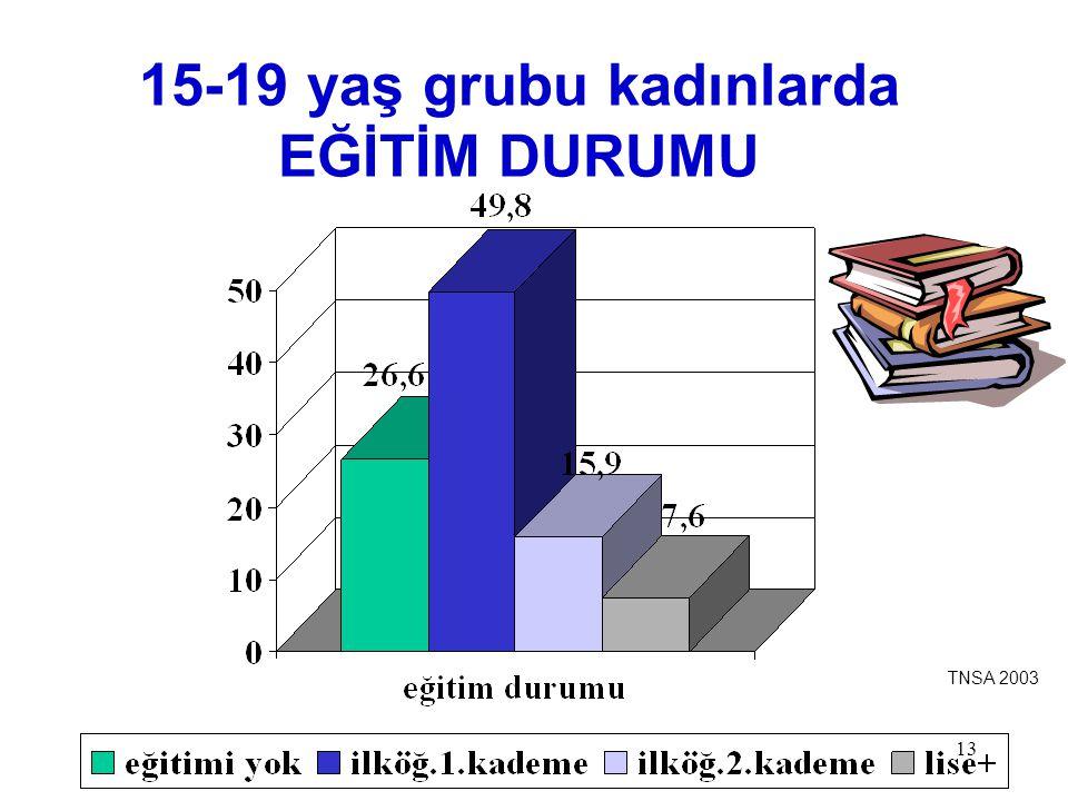 13 15-19 yaş grubu kadınlarda EĞİTİM DURUMU TNSA 2003