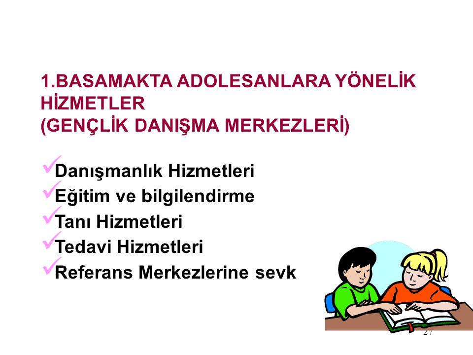 27 1.BASAMAKTA ADOLESANLARA YÖNELİK HİZMETLER (GENÇLİK DANIŞMA MERKEZLERİ) Danışmanlık Hizmetleri Eğitim ve bilgilendirme Tanı Hizmetleri Tedavi Hizme