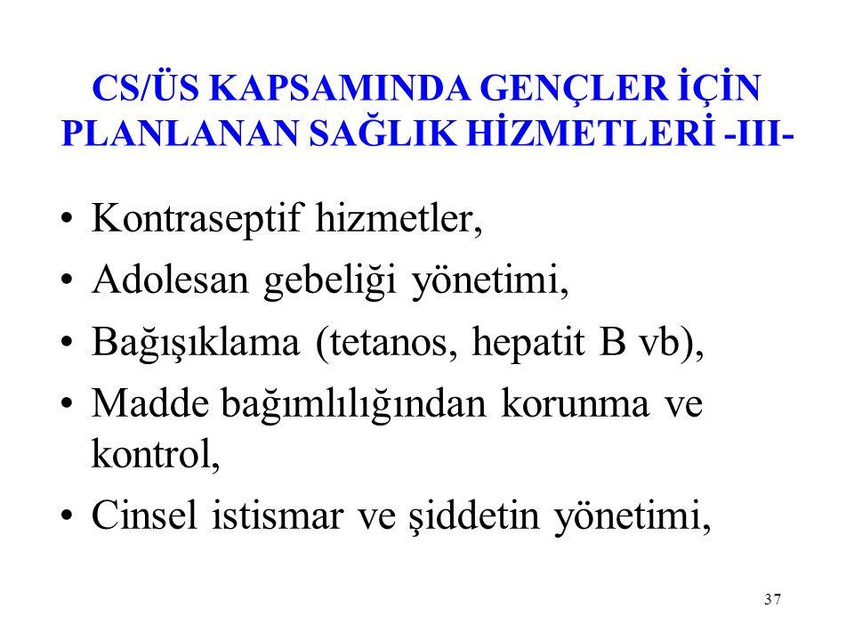 37 CS/ÜS KAPSAMINDA GENÇLER İÇİN PLANLANAN SAĞLIK HİZMETLERİ -III- Kontraseptif hizmetler, Adolesan gebeliği yönetimi, Bağışıklama (tetanos, hepatit B