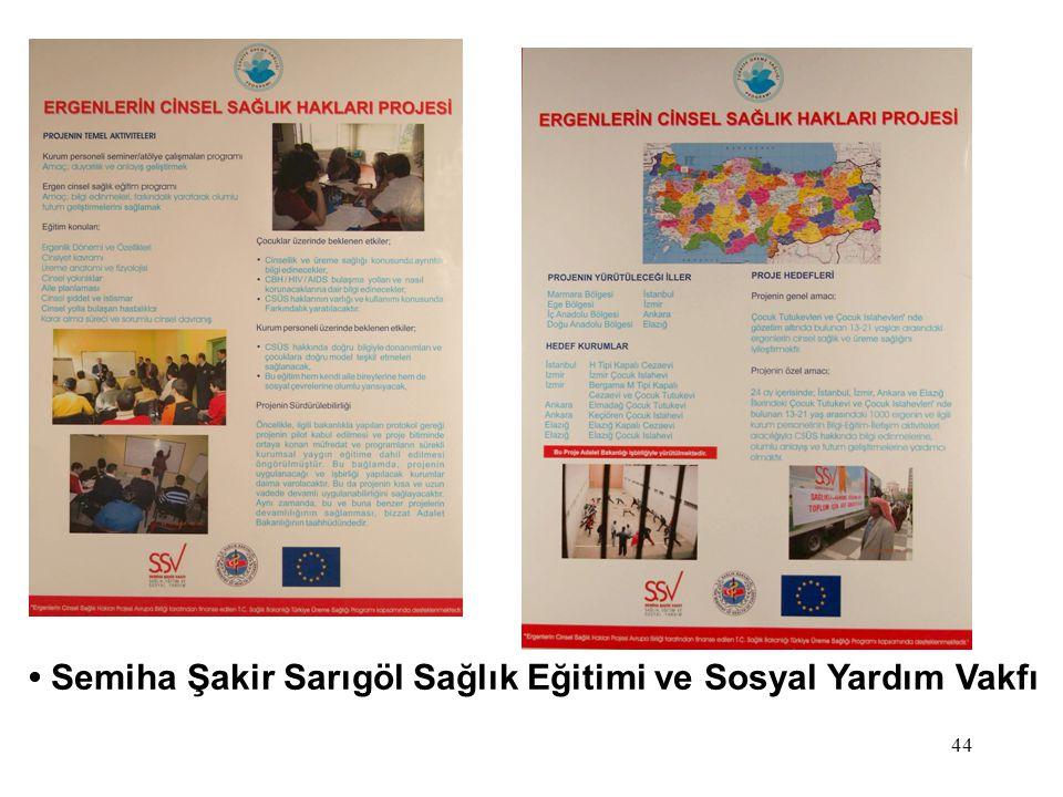 44 Semiha Şakir Sarıgöl Sağlık Eğitimi ve Sosyal Yardım Vakfı