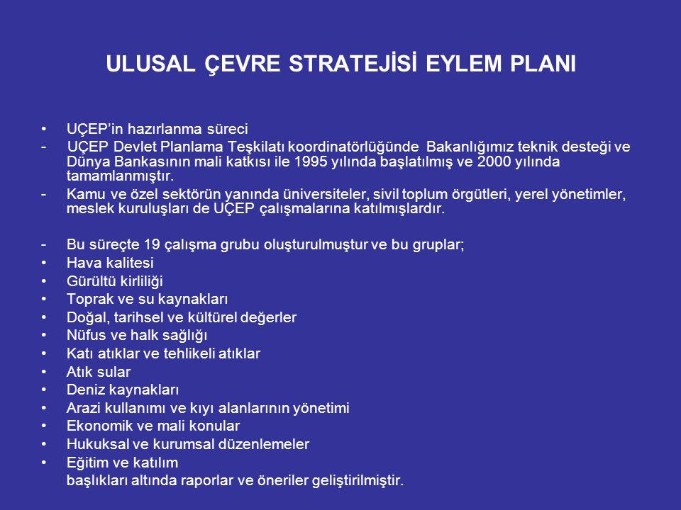 ULUSAL ÇEVRE STRATEJİSİ EYLEM PLANI UÇEP'in hazırlanma süreci - UÇEP Devlet Planlama Teşkilatı koordinatörlüğünde Bakanlığımız teknik desteği ve Dünya