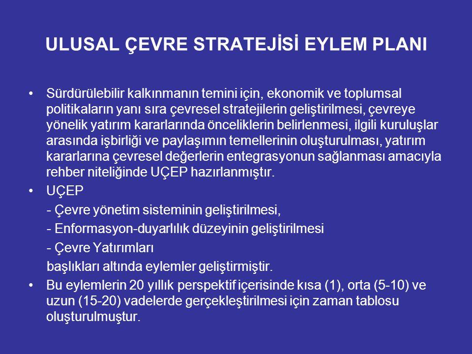 UÇEP'in Amaçları Sürdürülebilir kalkınmanın temini için, ekonomik ve toplumsal politikaların yanı sıra çevresel stratejilerin geliştirilmesi Çevreye yönelik yatırım kararlarında önceliklerin belirlenmesi İlgili kuruluşlar arasında işbirliğinin temellerinin oluşturulması Çevreyle ilgili yatırım programlarına ilişkin verilerin sağlanması