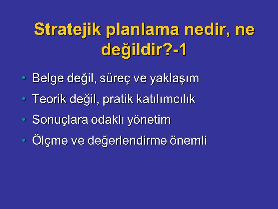 Stratejik planlama nedir, ne değildir -1 Belge değil, süreç ve yaklaşımBelge değil, süreç ve yaklaşım Teorik değil, pratik katılımcılıkTeorik değil, pratik katılımcılık Sonuçlara odaklı yönetimSonuçlara odaklı yönetim Ölçme ve değerlendirme önemliÖlçme ve değerlendirme önemli