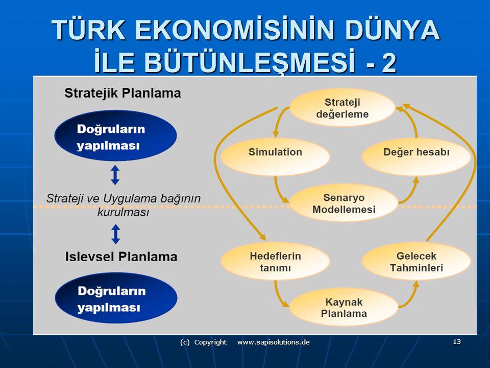 (c) Copyright www.sapisolutions.de 13 TÜRK EKONOMİSİNİN DÜNYA İLE BÜTÜNLEŞMESİ - 2
