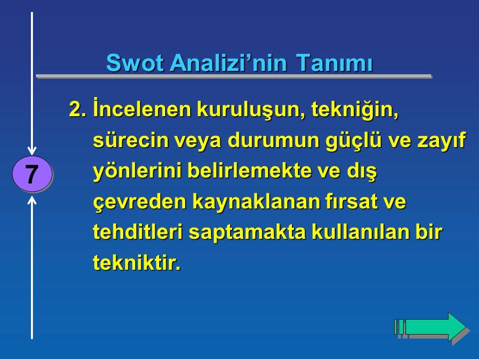 4 Swot Analizi'nin Tanımı 7 7 2.İncelenen kuruluşun, tekniğin, sürecin veya durumun güçlü ve zayıf yönlerini belirlemekte ve dış çevreden kaynaklanan fırsat ve tehditleri saptamakta kullanılan bir tekniktir.