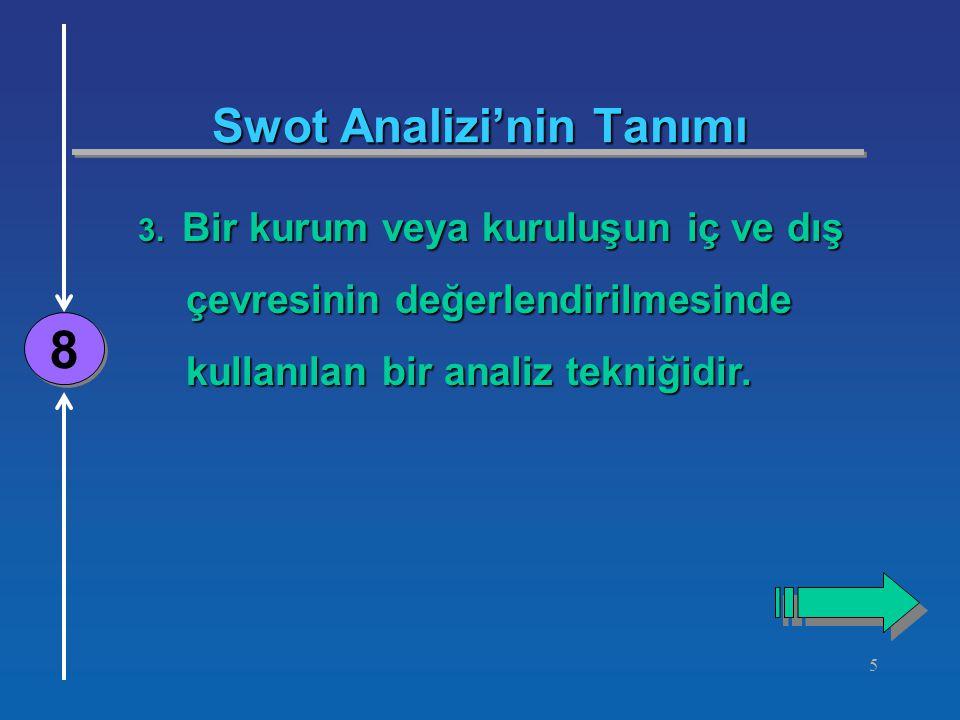 5 Swot Analizi'nin Tanımı 8 8 3.