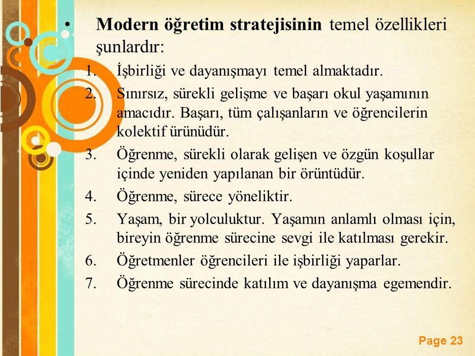 Free Powerpoint Templates Page 23 Modern öğretim stratejisinin temel özellikleri şunlardır: 1.İşbirliği ve dayanışmayı temel almaktadır. 2.Sınırsız, s